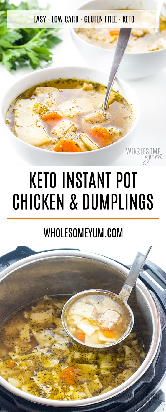 Keto Low Carb Gluten-Free Chicken and Dumplings Recipe - Low carb keto gluten-free chicken and dumplings are comfort in a bowl! This Instant Pot pressure cooker chicken and dumplings recipe is easy and delicious.