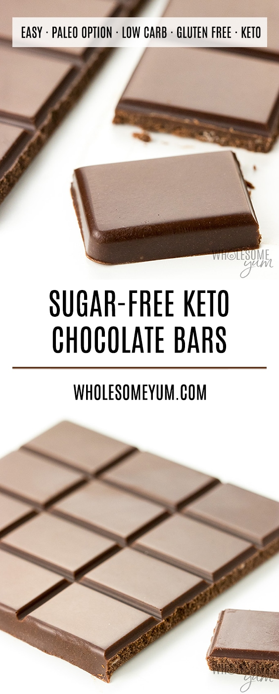 Low Carb Keto Chocolate Bar Recipe - Learn how to make low carb chocolate bars! This is the best way to make a keto chocolate bar that tastes like the real thing. Includes which sweeteners to use and the best method.