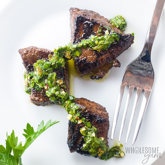 The Best Steak Bites Appetizer Recipe with Chimichurri Dipping Sauce - A super easy steak bites appetizer! This flavorful steak bites recipe with chimichurri sauce is quick and easy to make with common ingredients.