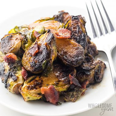 Crispy Pan Fried Brussel Sprouts Recipe with Bacon and Balsamic Vinegar