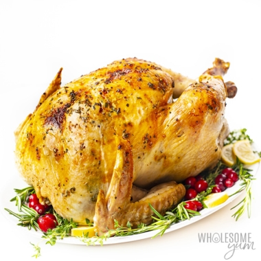 Butter herb roasted turkey recipe on a platter