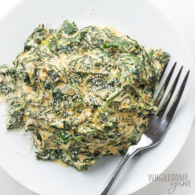 Easy Low Carb Keto Creamed Spinach Recipe with Cream Cheese - How to make creamed spinach in 15 minutes! This easy, low carb keto creamed spinach recipe with cream cheese needs just a few common ingredients.