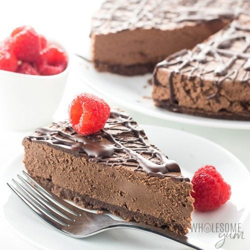 Keto Low Carb No Bake Chocolate Cheesecake Recipe Video Wholesome Yum