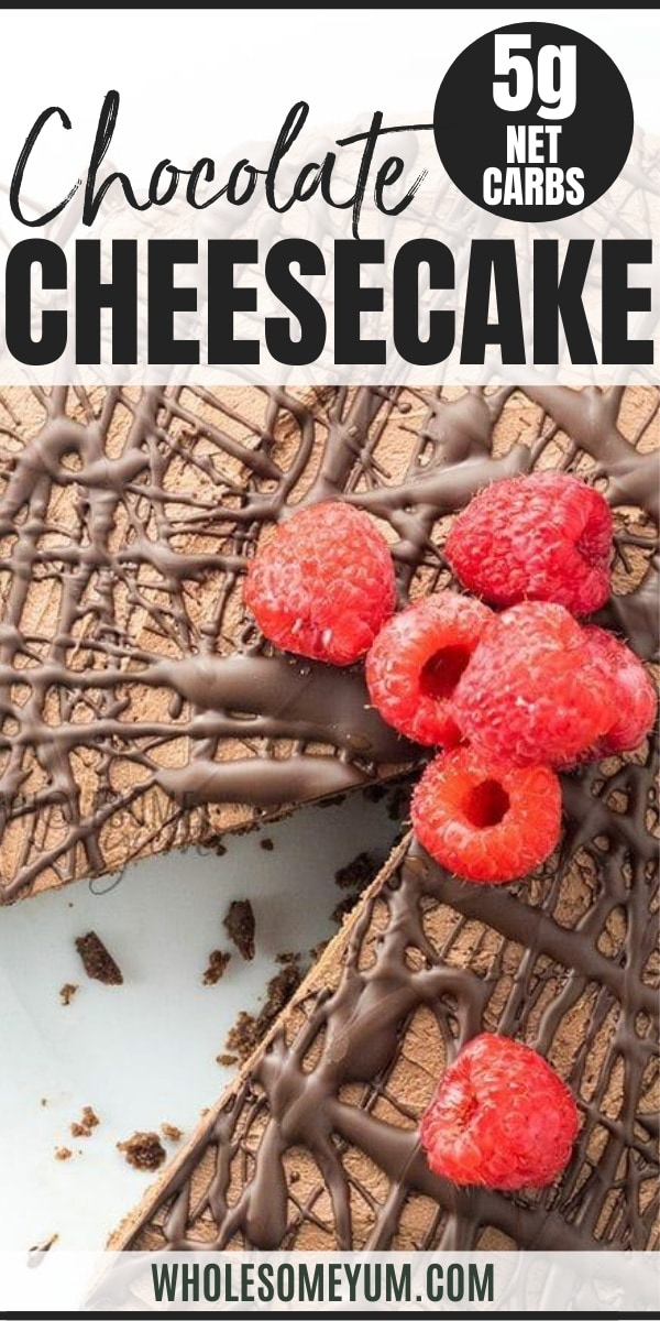Raspberries and chocolate coating on a chocolate cheesecake. Slice removed from cheesecake.