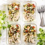 Low Carb Greek Chicken Meal Prep Bowls Recipe - These Greek chicken meal prep bowls are SO EASY! Only 20 minutes prep time to make a low carb meal prep bowl recipe for 4 different meals.