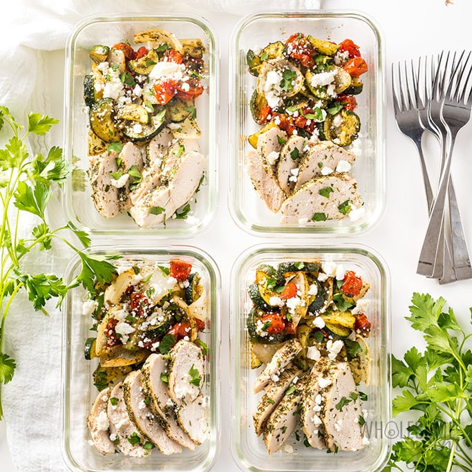 Low Carb Greek Chicken Meal Prep Bowls Recipe Wholesome Yum