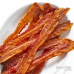 Crispy bacon in the oven, on a plate