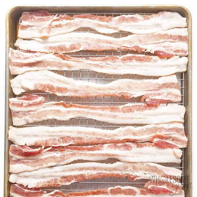 Bacon on a rack before baking