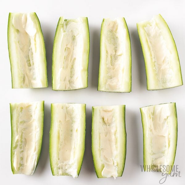 Cucumber subs recipe - Cucumbers shown with mayo spread inside