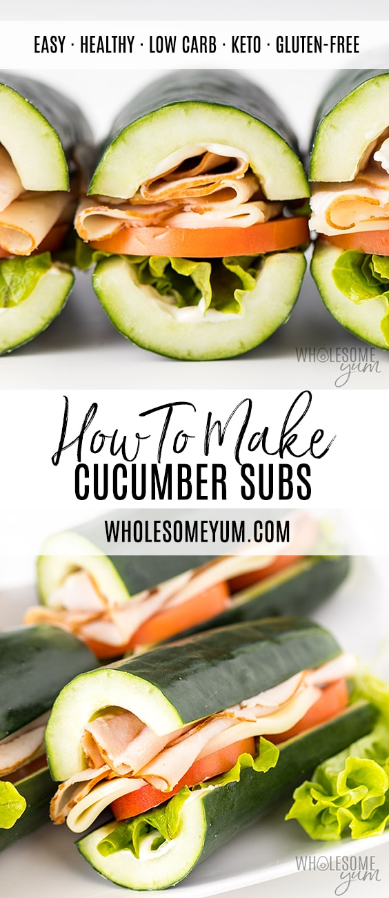 Cucumber Subs Recipe: How To Make Cucumber Sandwiches! - How to make cucumber sandwiches without bread! This cucumber subs recipe is quick, simple, and easy to customize. Like a turkey sandwich without the carbs!