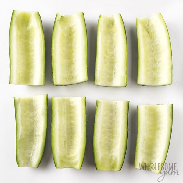 Cucumber subs recipe - cucumbers shown with seeds scooped out