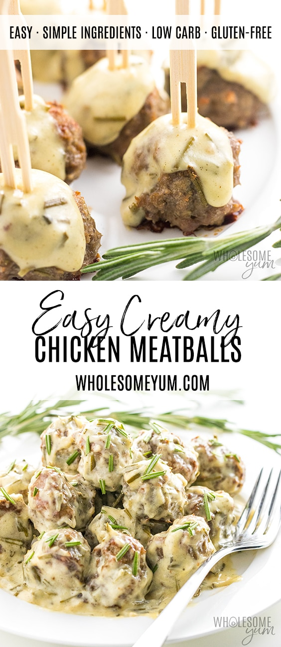 Healthy Ground Chicken Meatballs Recipe in Creamy Sauce - Pinterest image