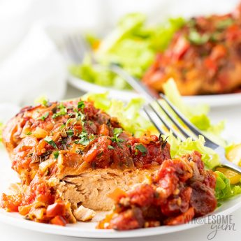 Healthy Slow Cooker Chicken Cacciatore Recipe - Low Carb - plated side shot