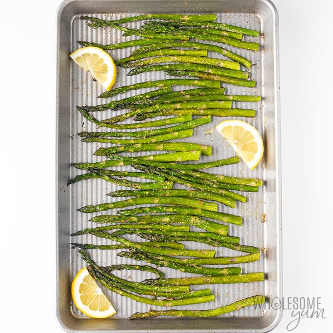 How To Cook Asparagus In The Oven - in pan after roasting