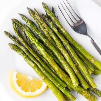 How To Cook Asparagus In The Oven - side view - overhead view on plate