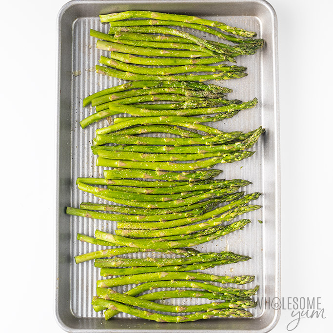How To Cook Asparagus In The Oven - in pan before roasting