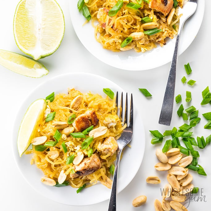 Keto Spaghetti Squash Pad Thai Recipe - The best spaghetti squash pad Thai recipe ever! This low carb keto pad Thai is super EASY to make, with loads of flavor and no sugar.
