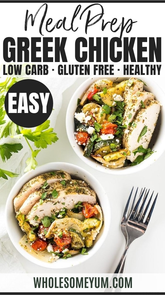 Low Carb Keto Greek Chicken Meal Prep Bowls Gluten Free Healthy