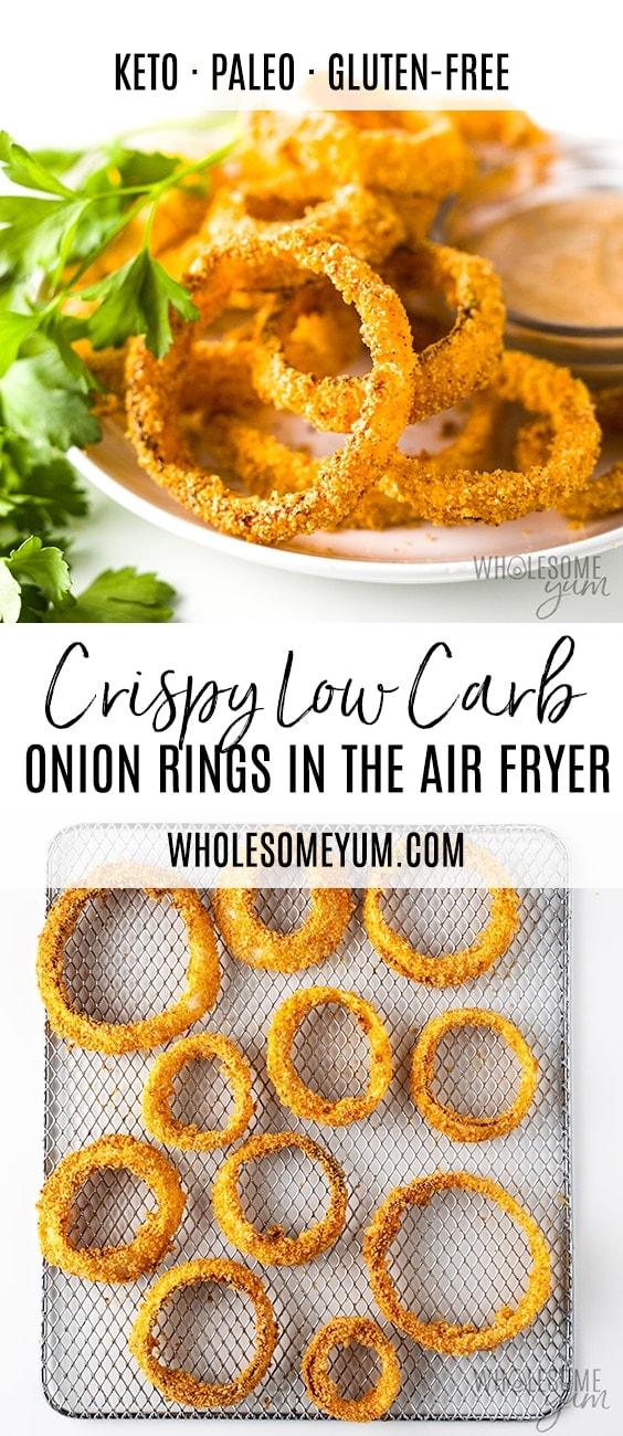 Air Fryer Keto Onion Rings Recipe - Pinterest image