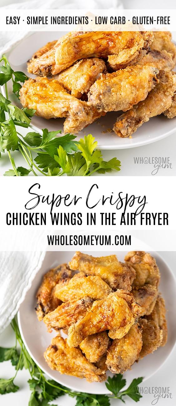 Crispy Air Fryer Chicken Wings Recipe - Pinterest image