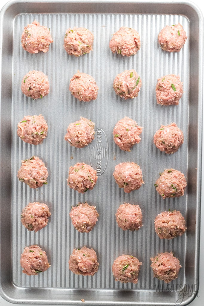 Healthy Ground Chicken Meatballs Recipe in Creamy Sauce - Meatballs shown before baking
