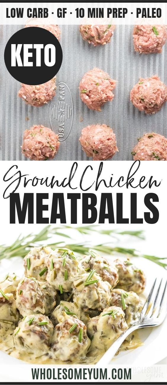 Healthy Ground Chicken Meatballs - Pinterest image