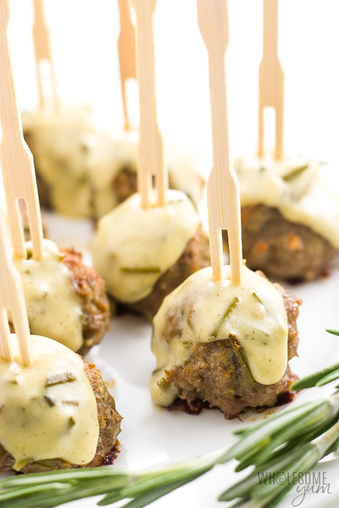 Healthy Ground Chicken Meatballs Recipe in Creamy Sauce - Meatballs on skewers as appetizers