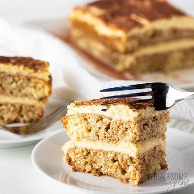 Low Carb Keto Tiramisu Recipe - slice of tiramisu