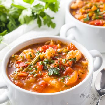 The Best Keto Low Carb Vegetable Soup Recipe - in soup bowls