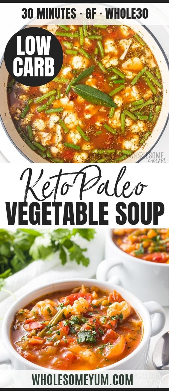 The Best Keto Low Carb Vegetable Soup - Pinterest image