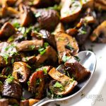 oven roasted mushrooms with balsamic with spoon
