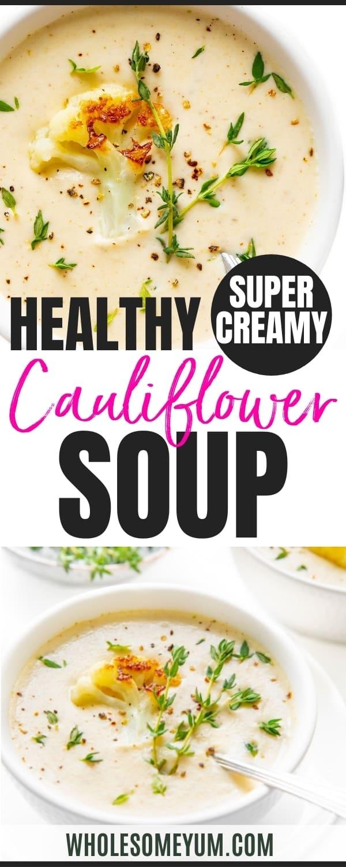 How to make cauliflower soup - recipe pin