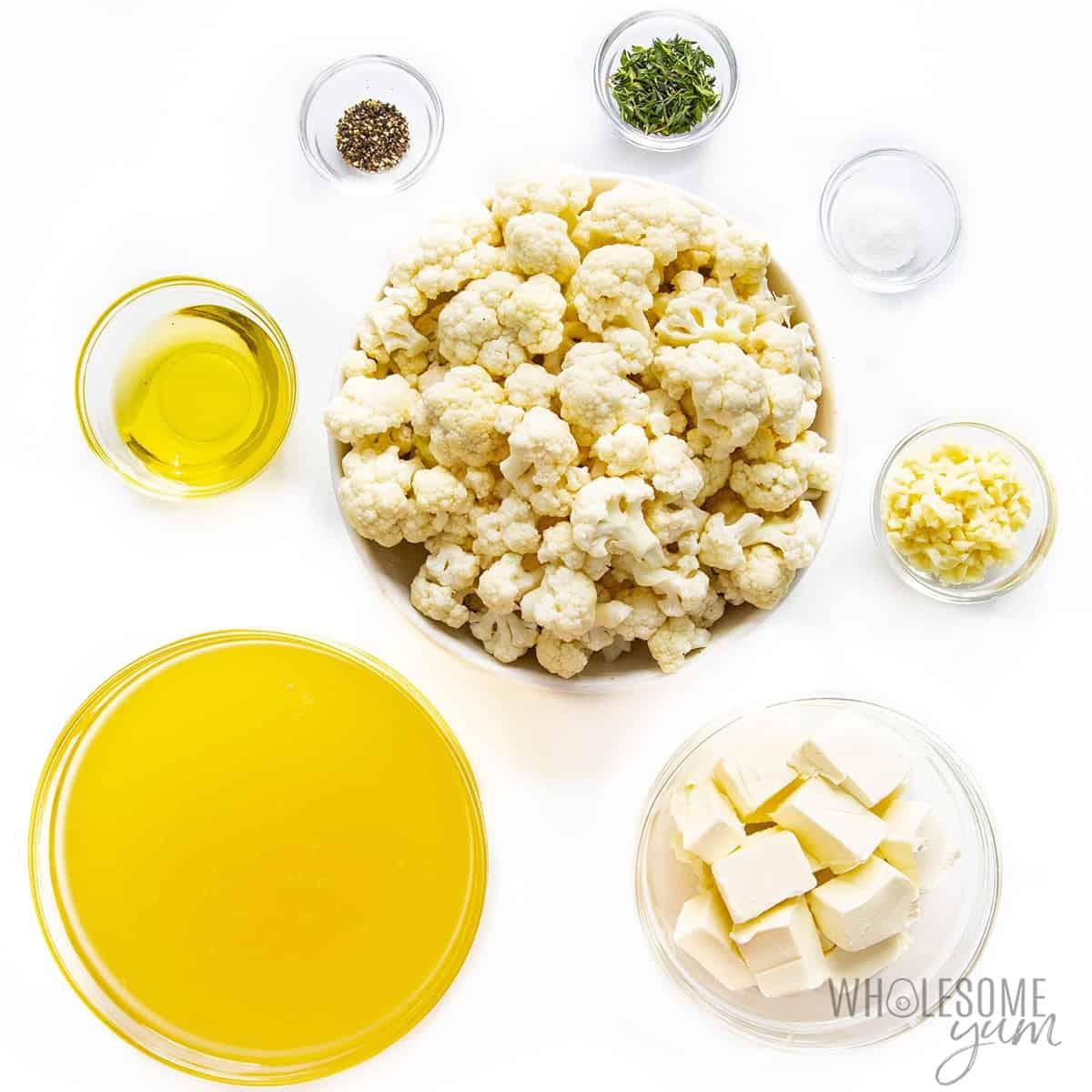 Roasted cauliflower soup ingredients