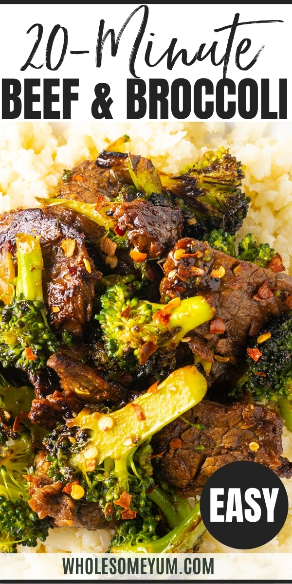 Keto Paleo Beef & Broccoli Stir Fry Recipe - Pinterest image