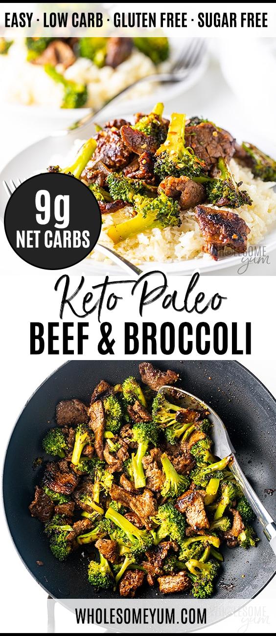 Keto Paleo Beef & Broccoli Stir Fry Recipe - Pinterest image