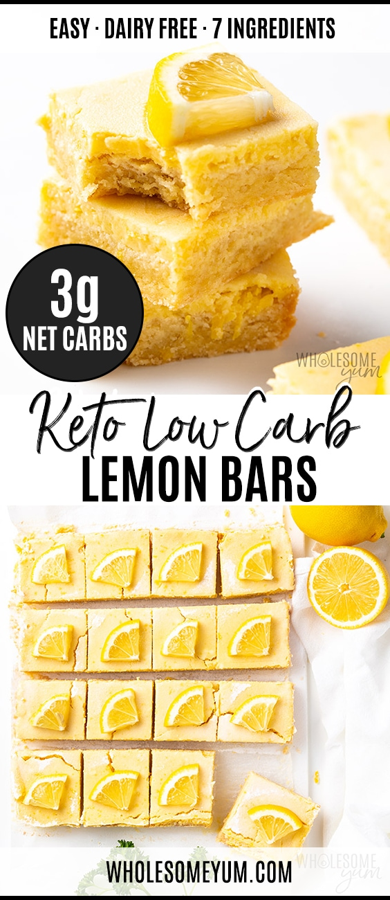 Keto Low Carb Lemon Bars Recipe - Pinterest Pin