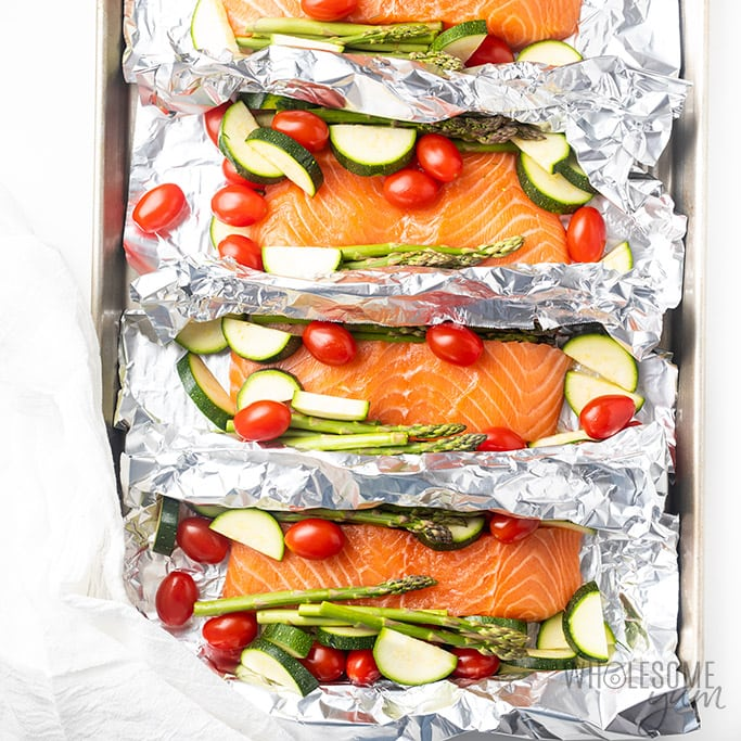 Raw salmon foil packets