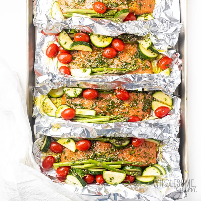 Raw salmon foil packets with marinade