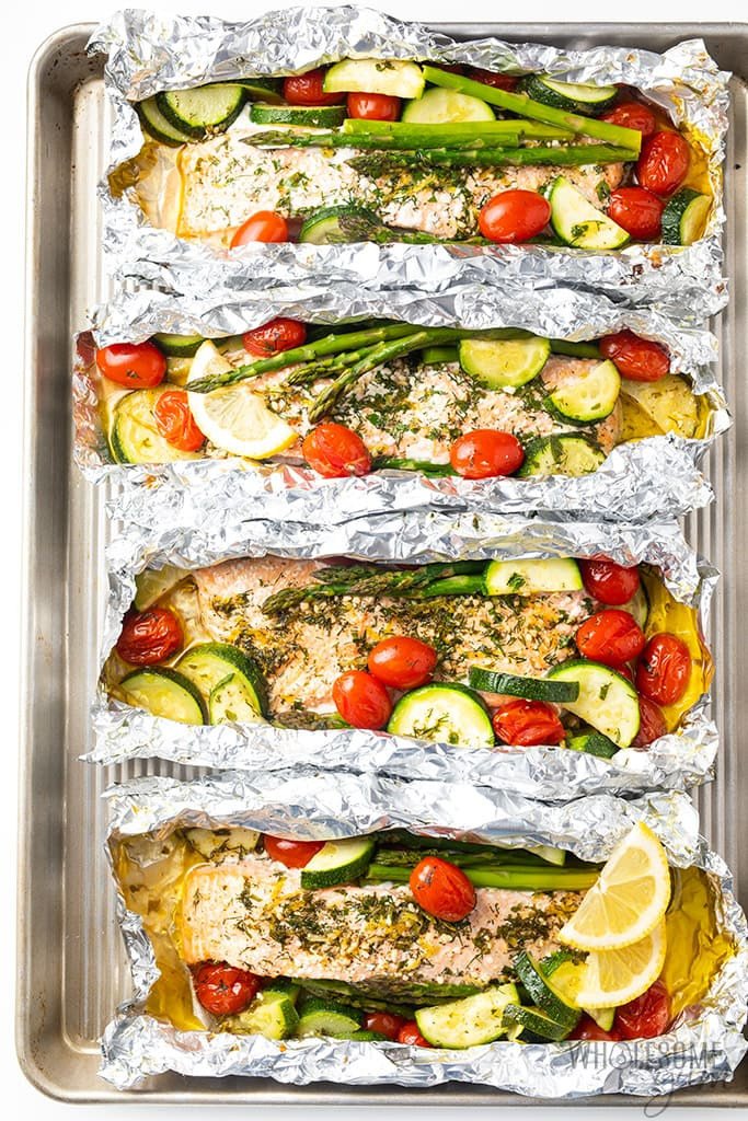 Salmon foil packets after cooking