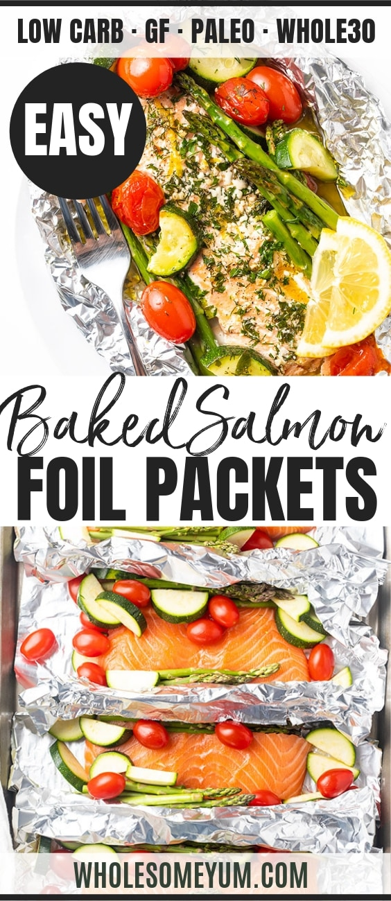 Salmon foil packets with vegetables - Pinterest image