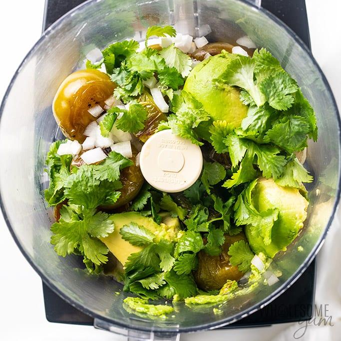 creamy avocado salsa in a food processor