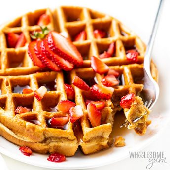 high protein waffles with strawberries