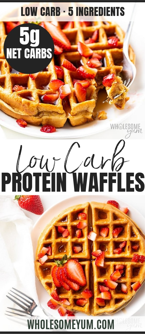 Low carb protein waffles - Pinterest image