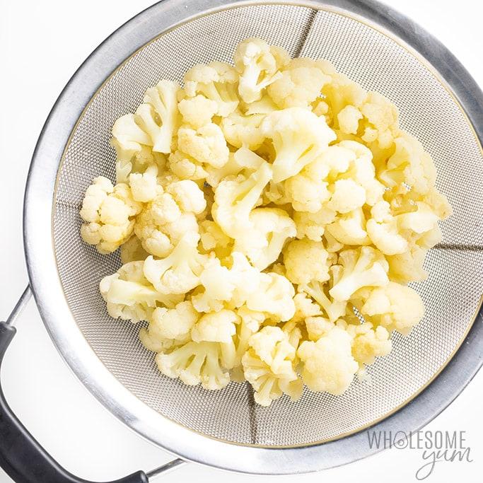 steamed cauliflower for low carb cauliflower mash