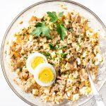 Tuna Egg Salad Recipe - Plate with tuna salad