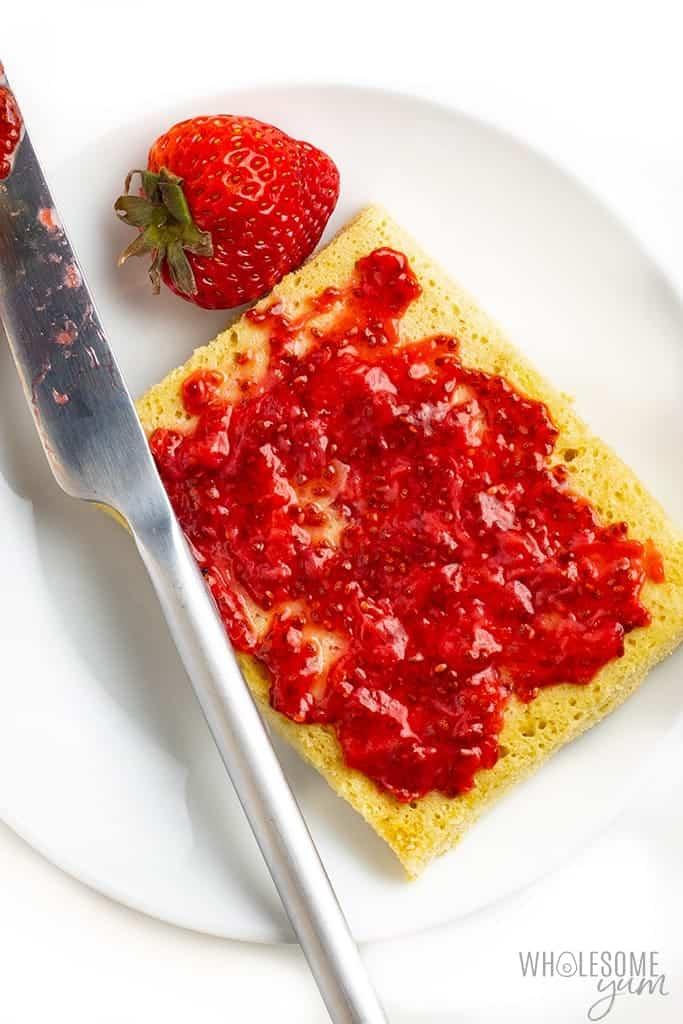 Homemade chia seed jam spread on toast