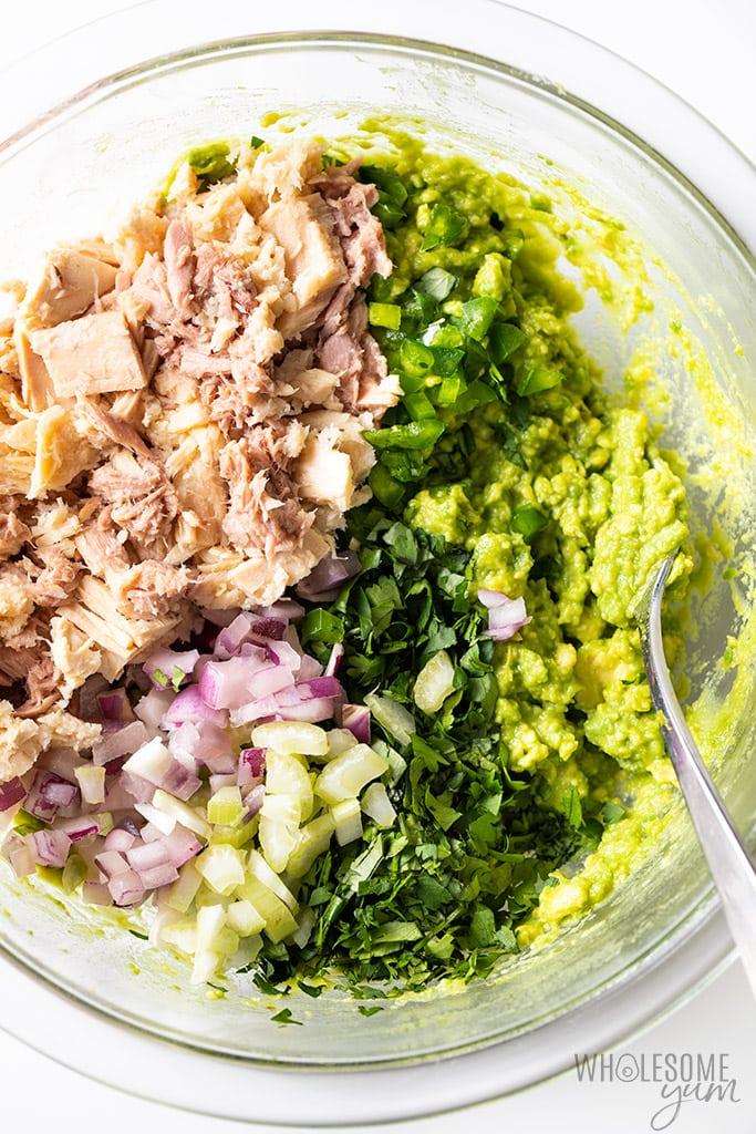 Ingredients for avocado tuna salad