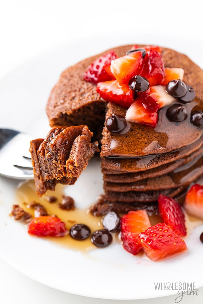 bite of protein powder pancakes on a fork
