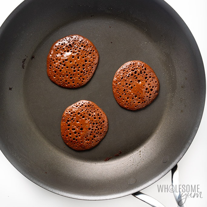 low carb protein pancakes in a fry pan