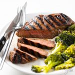 steak sliced with broccoli